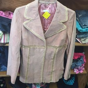 Pink Blazer and cream designs all over